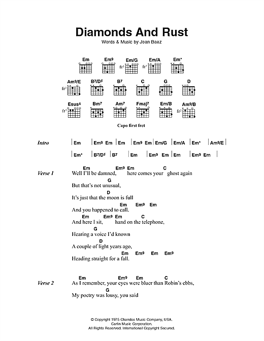 Diamonds And Rust Sheet Music
