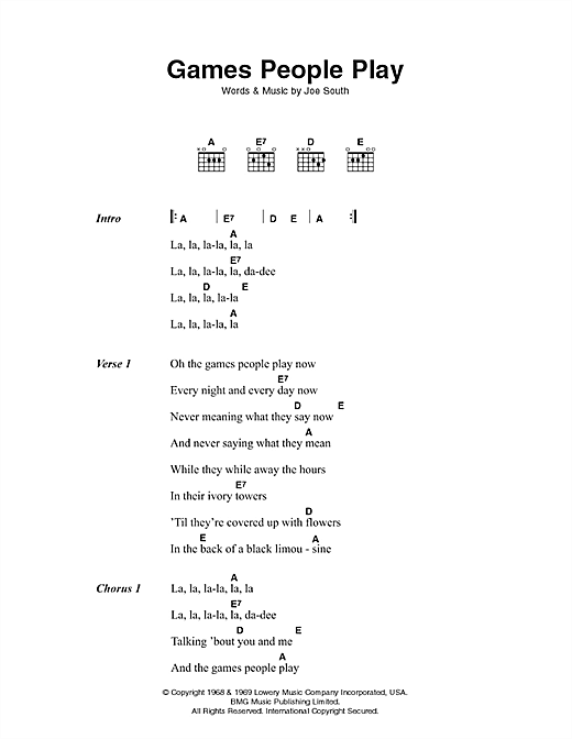 Games People Play (Guitar Chords/Lyrics)