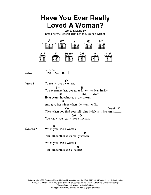 Have You Ever Really Loved A Woman? Sheet Music