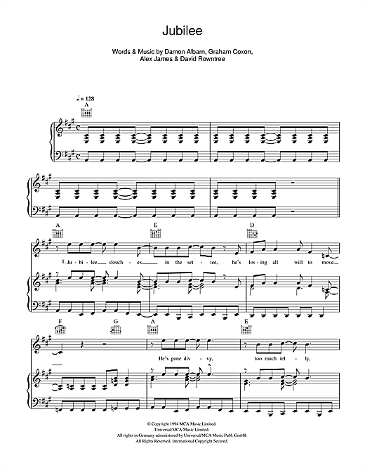 Jubilee (Piano, Vocal & Guitar (Right-Hand Melody))