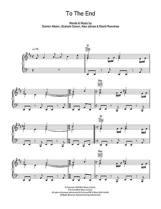 To The End Sheet Music