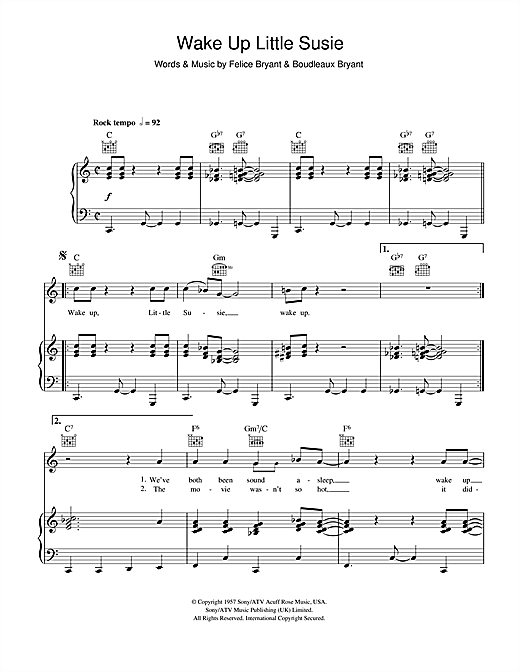 Wake Up Little Susie Print Sheet Music Now