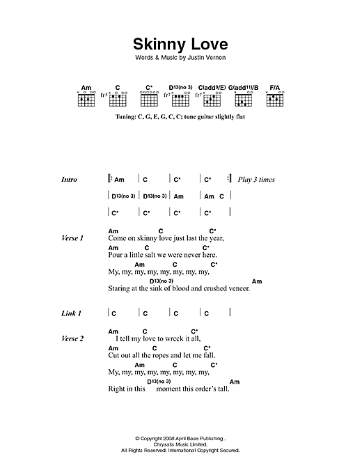 Skinny Love Sheet Music By Bon Iver Lyrics Chords 49361