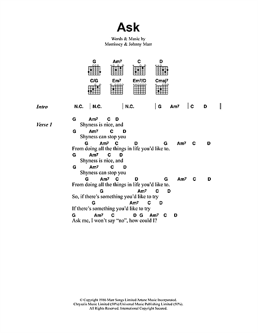 Ask (Guitar Chords/Lyrics)