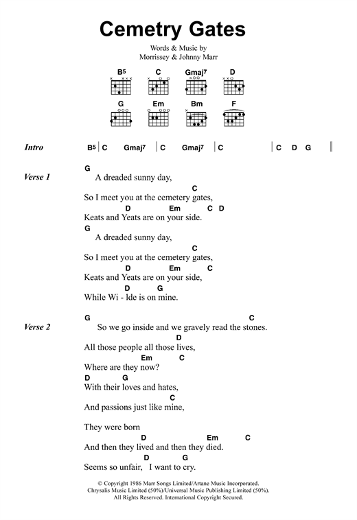 Cemetry Gates Sheet Music