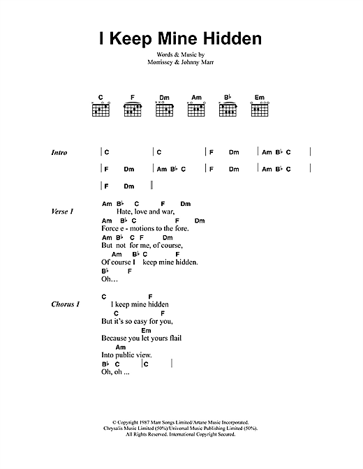I Keep Mine Hidden (Guitar Chords/Lyrics)