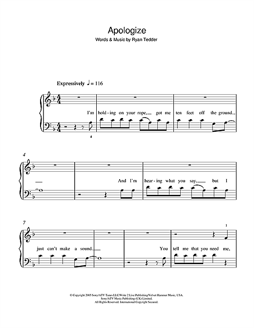 Apologize Sheet Music By Onerepublic 5 Finger Piano 49409