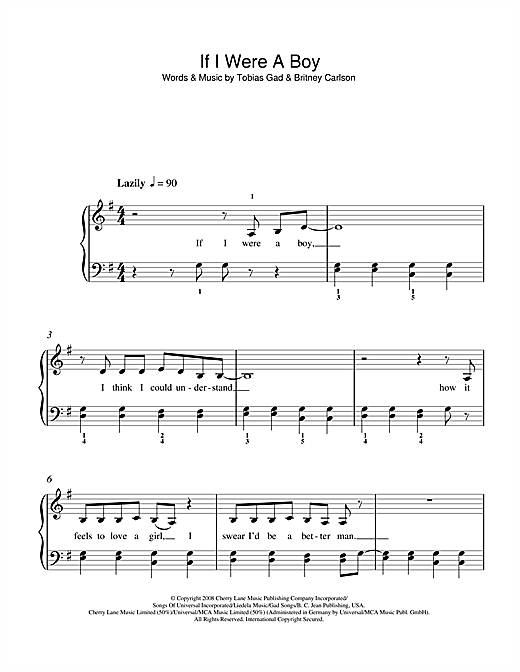 If I Were A Boy Sheet Music