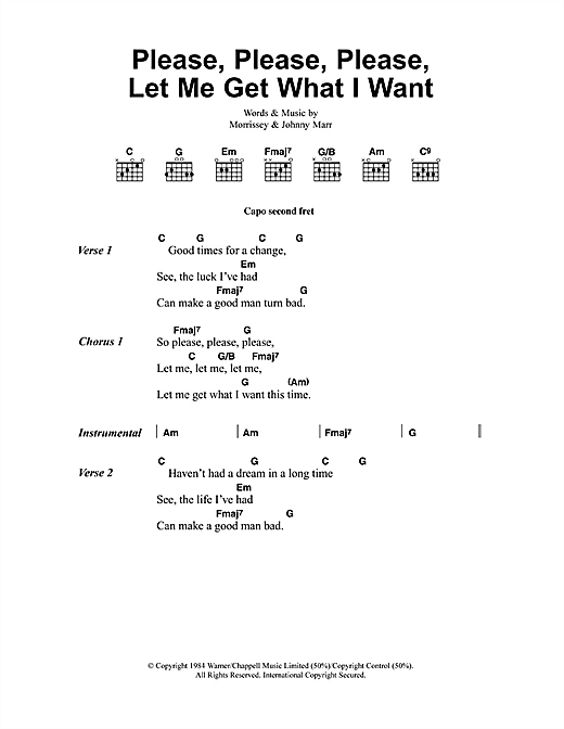 Please, Please, Please, Let Me Get What I Want Sheet Music