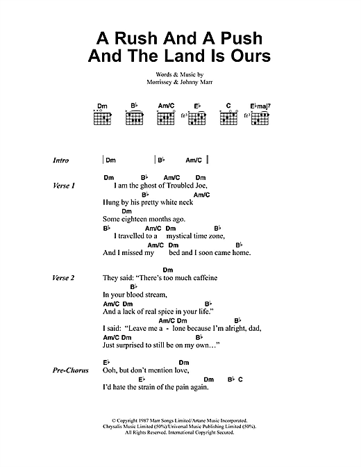 A Rush And A Push And The Land Is Ours Sheet Music