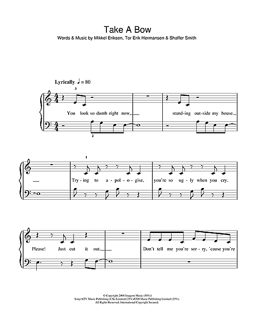 Take A Bow Sheet Music