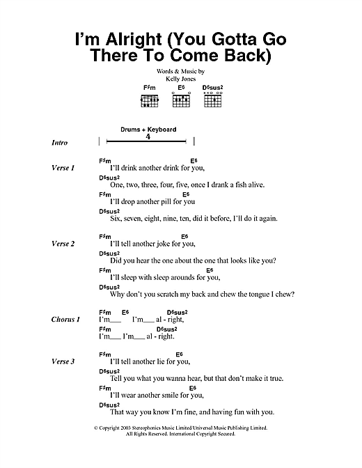 Im Alright You Gotta Go There To Come Back Sheet Music By