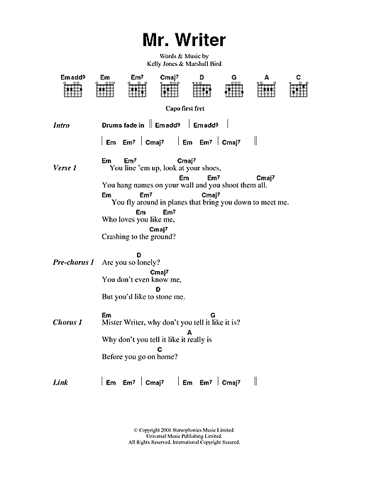 Mr. Writer (Guitar Chords/Lyrics)