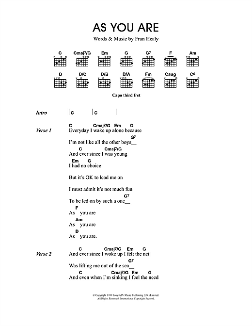 As You Are sheet music by Travis (Lyrics & Chords – 49496)