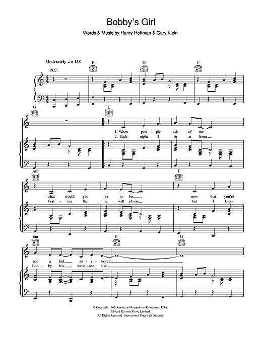 Partition piano Bobby's Girl de Susan Maughan - Piano Voix Guitare (Mélodie Main Droite)