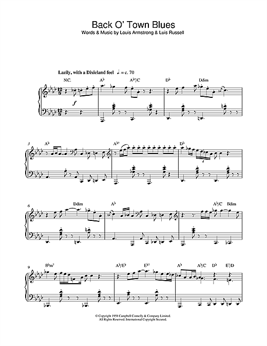 Partition piano Back O' Town Blues de Louis Armstrong - Piano Solo