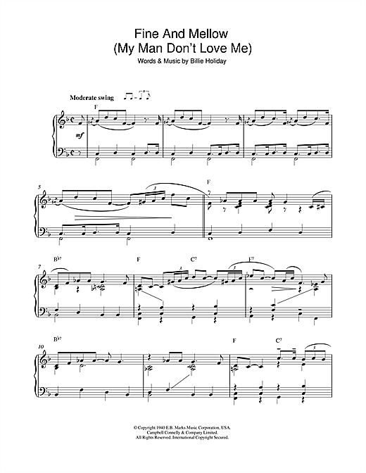 Fine And Mellow (My Man Don't Love Me) Sheet Music