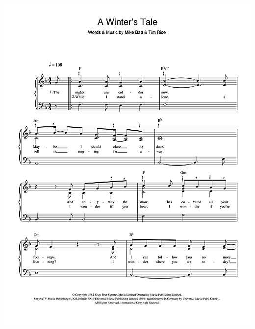A Winter's Tale Sheet Music