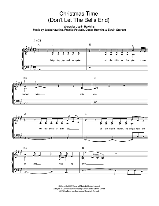Christmas Time (Don't Let The Bells End) Sheet Music