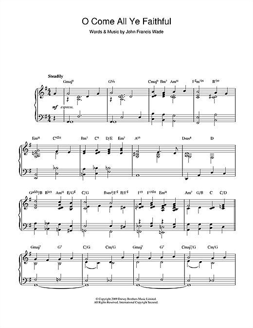 O Come All Ye Faithful (jazz version) Sheet Music