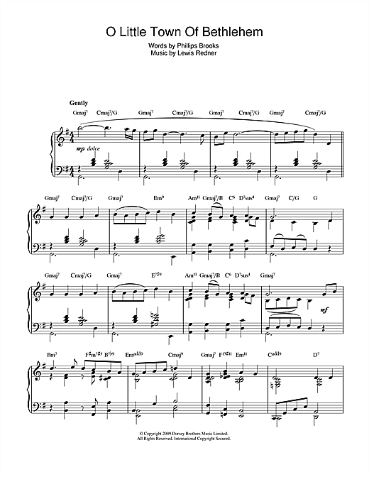 O Little Town Of Bethlehem (jazz version) Sheet Music