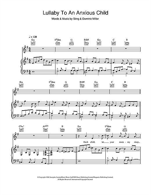 Lullaby For An Anxious Child Sheet Music