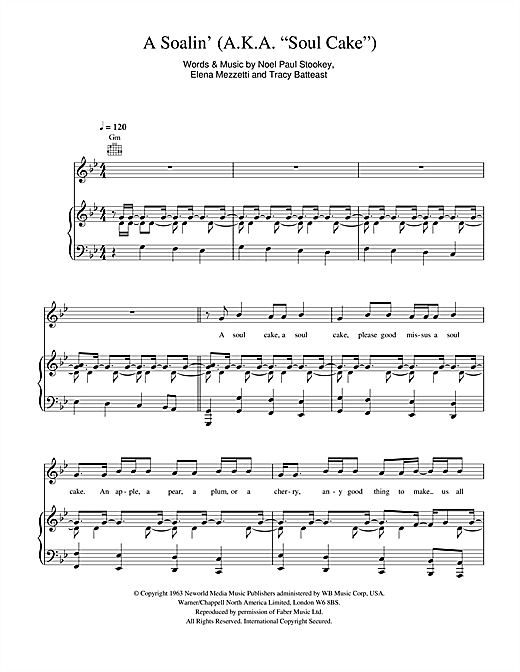A Soalin Aka Soul Cake Sheet Music By Sting Piano Vocal