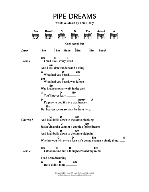 Pipe Dreams Sheet Music
