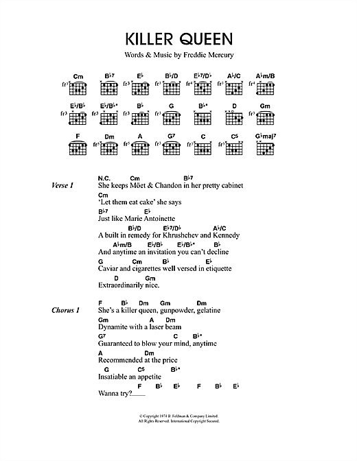 Killer Queen sheet music by Travis (Lyrics u0026 Chords u2013 49661)