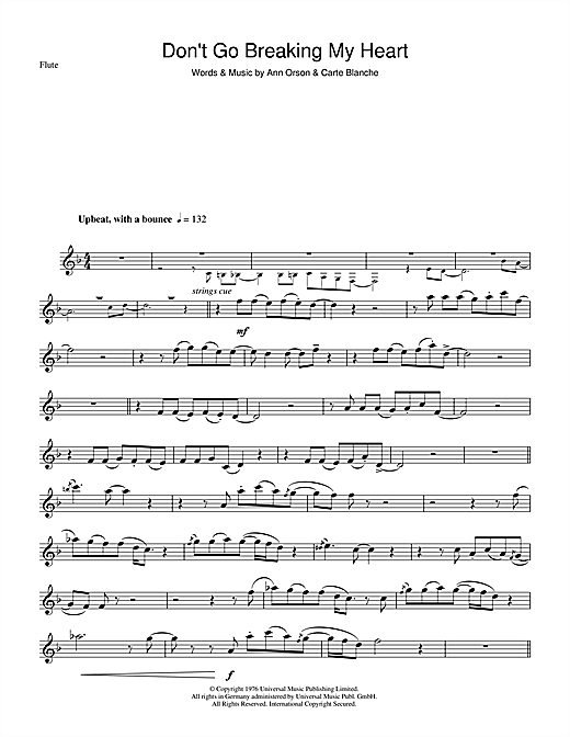 Don't Go Breaking My Heart Sheet Music