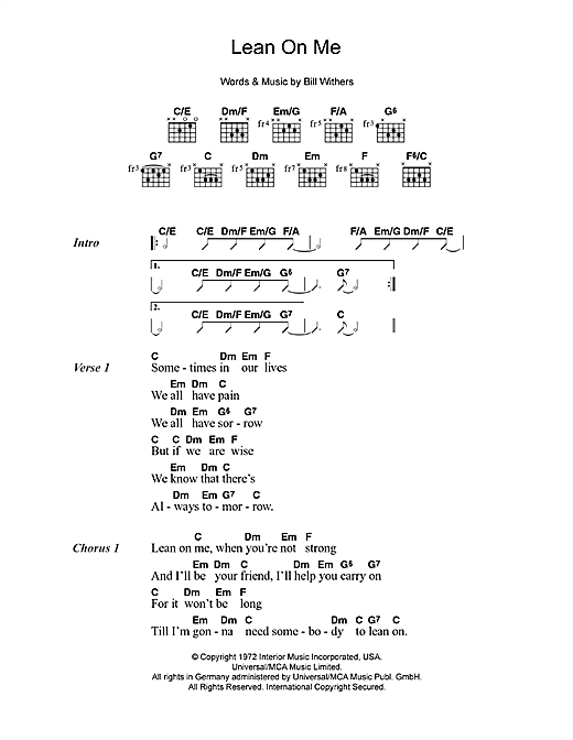 Lean On Me Sheet Music By Bill Withers Lyrics Chords 49703
