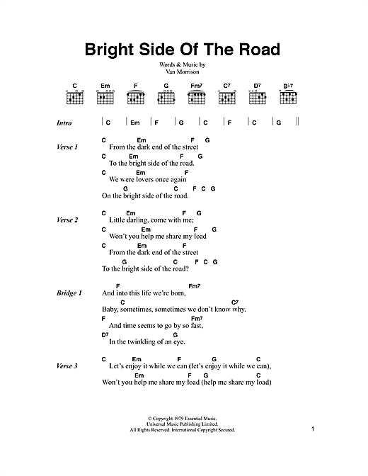 Bright Side Of The Road sheet music by Van Morrison (Lyrics & Chords ...