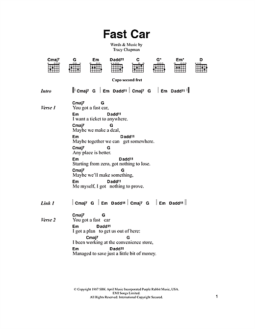 Fast Car Sheet Music By Tracy Chapman Lyrics Chords - Tracy chapman fast car guitar