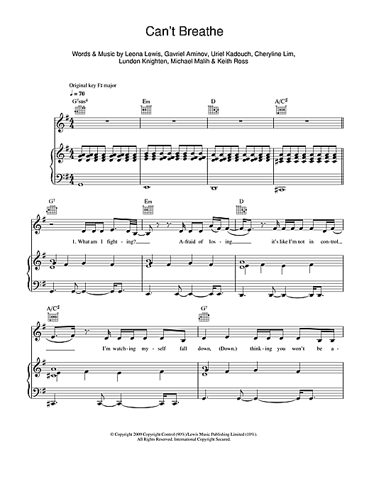Can't Breathe Sheet Music
