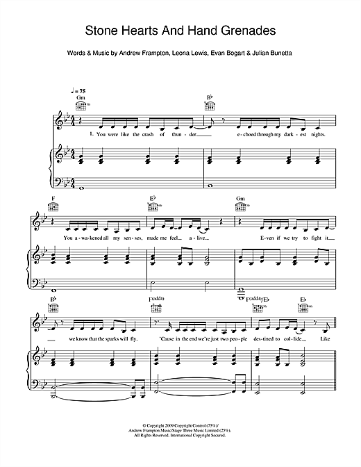 Stone Hearts And Hand Grenades Sheet Music