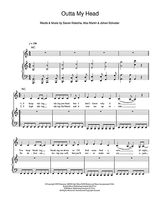 Outta My Head Sheet Music