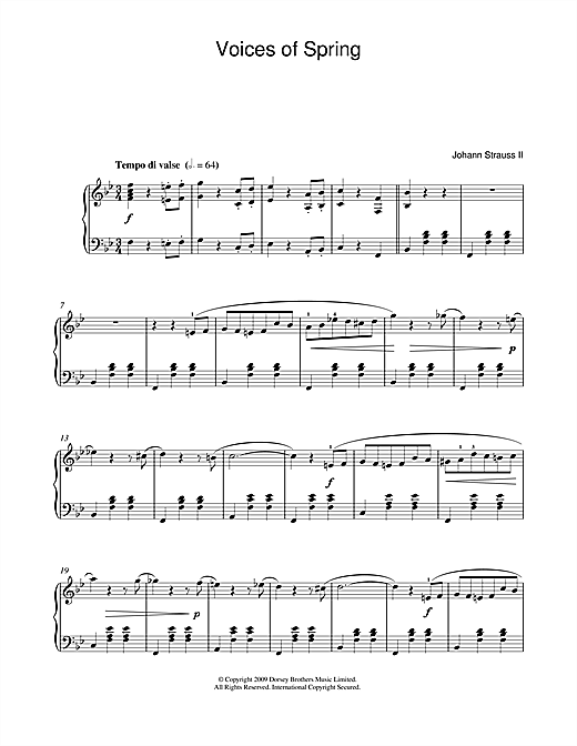 Partition piano Waltz de Johann Strauss II - Piano Solo