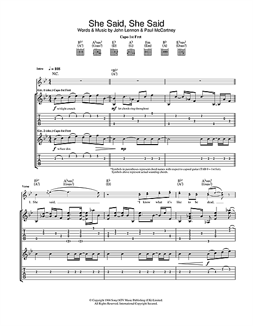 Tablature guitare She Said She Said de The Beatles - Tablature Guitare