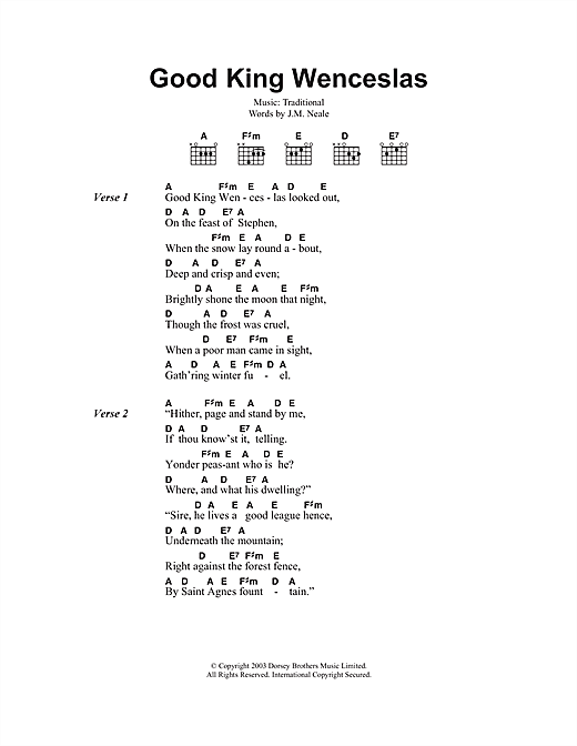 Ukulele ukulele tabs good king wenceslas : Good King Wenceslas sheet music by Christmas Carol (Lyrics ...