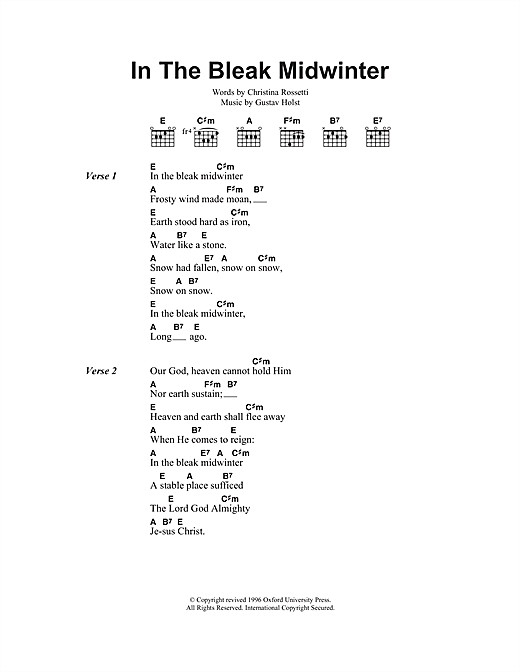In The Bleak Midwinter Sheet Music By Christmas Carol Lyrics