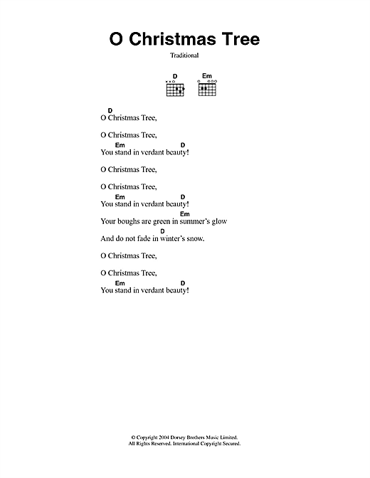 O Christmas Tree (O Tannenbaum) sheet music by Christmas Carol (Lyrics u0026 Chords u2013 49775)