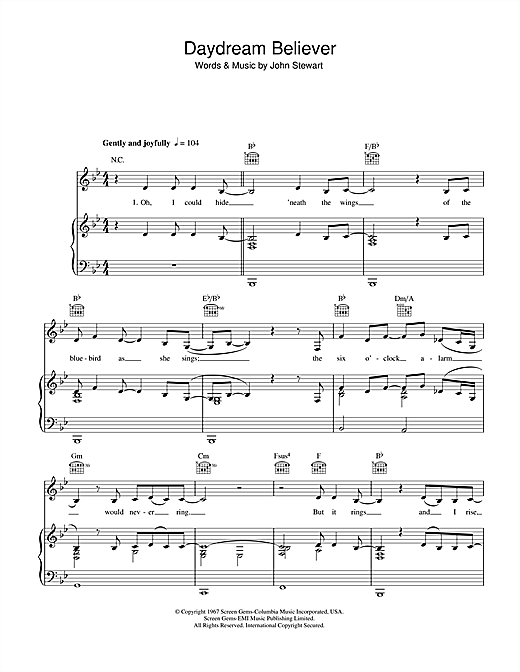 Daydream Believer (Piano, Vocal & Guitar (Right-Hand Melody))