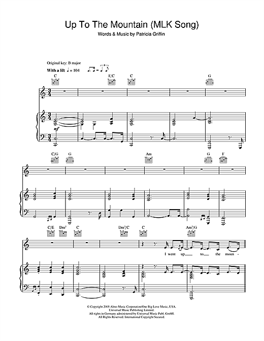 Up The Mountain (MLK Song) Sheet Music