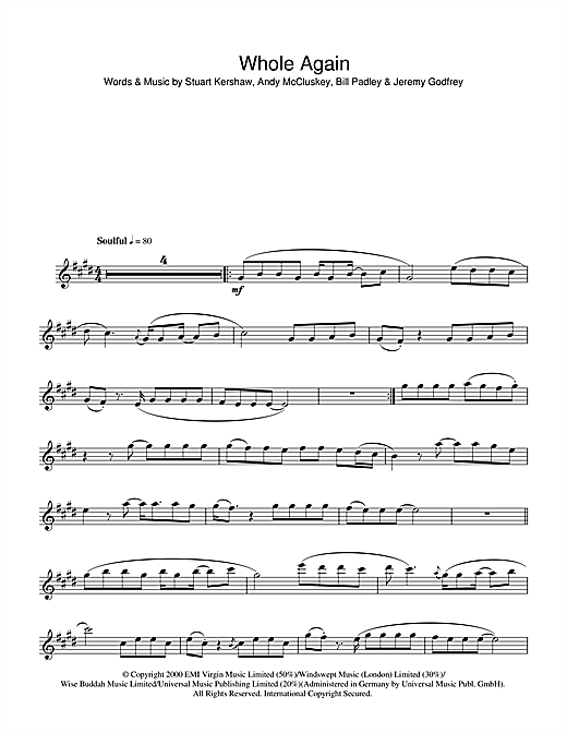 Whole Again Sheet Music