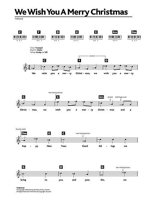 We Wish You A Merry Christmas Ukulele Chords.We Wish You A Merry Christmas Keyboard Abridged Sheet Music