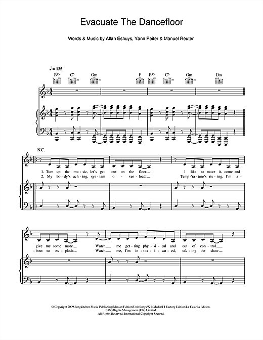 Evacuate The Dancefloor Sheet Music