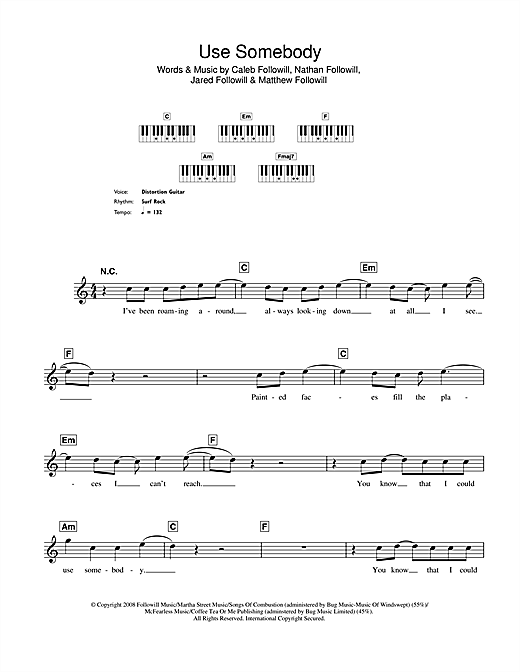 Partition piano Use Somebody de Kings Of Leon - Synthétiseur