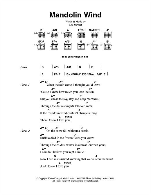 Mandolin mandolin chords and lyrics : Mandolin Wind sheet music by Rod Stewart (Lyrics & Chords – 49864)