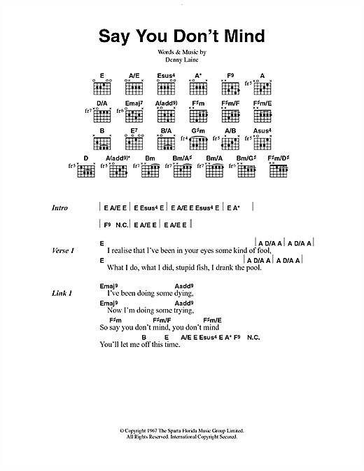 Say You Don't Mind Sheet Music