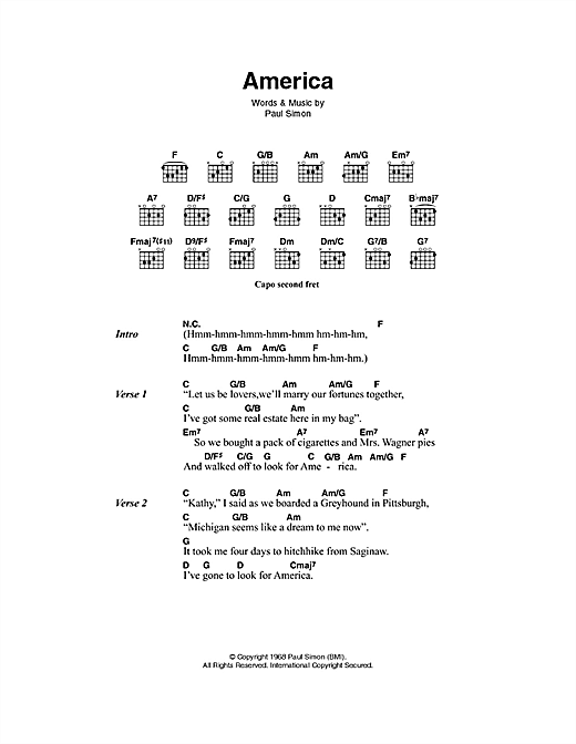 America sheet music by Simon & Garfunkel (Lyrics & Chords – 49876)